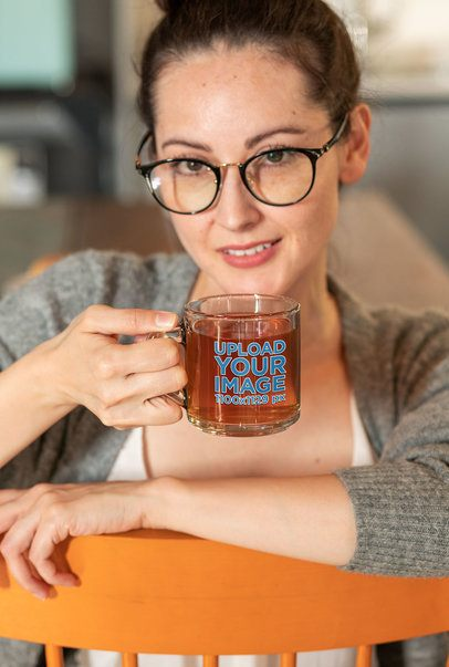 11 oz Clear Mug Mockup of a Woman with Reading Glasses 31753
