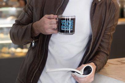 Glass Coffee Mug Mockup of a Man Reading 31768