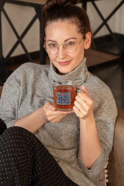 Glass Mug Mockup of a Woman Drinking Tea 31760