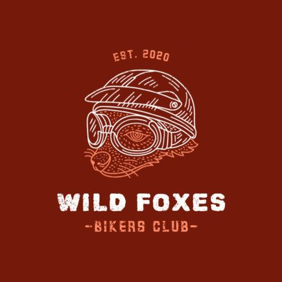 Vintage Logo Maker for a Bikers Club Featuring a Fox 924b-el1