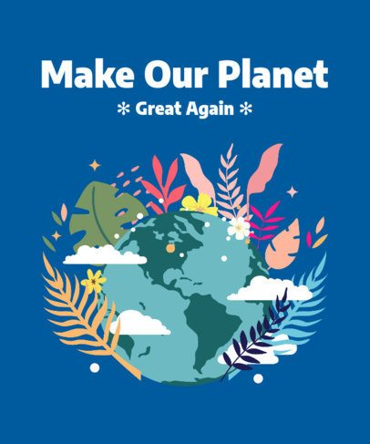 T-Shirt Design Template for Earth Day Featuring a Planet Surrounded by Vegetation 2300d
