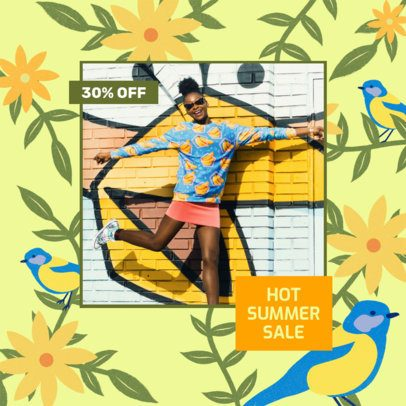 Summer Instagram Post Maker Featuring Flower Illustrations 2309F
