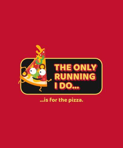 T-Shirt Design Template with a Running Pizza Cartoon 299b-el1