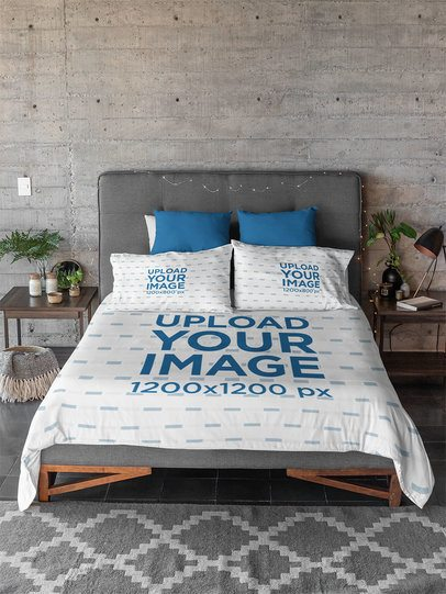Duvet Cover Mockup Featuring Two Bed Pillows 31291