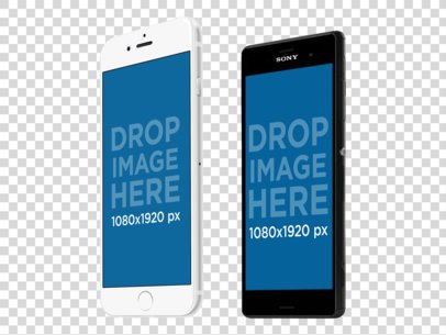 iPhone 6 and Android Phone Set Mockup in Portrait Position a11871