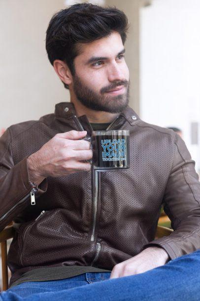 11 oz Glass Mug Mockup of a Bearded Man with a Leather Jacket 31777