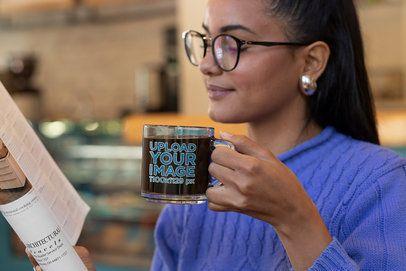 11 oz Glass Mug Mockup Featuring a Woman Reading 31745