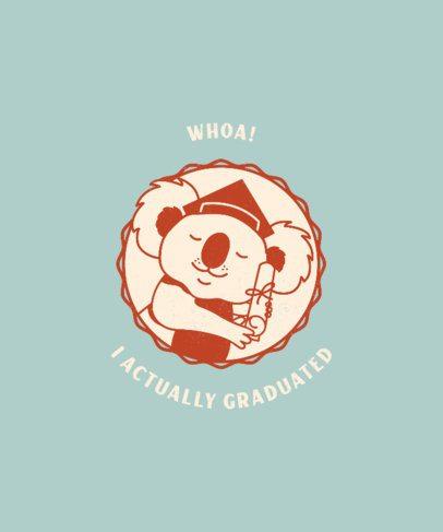 Graduation Day T-Shirt Design Generator Featuring a Koala with a Diploma 2304d