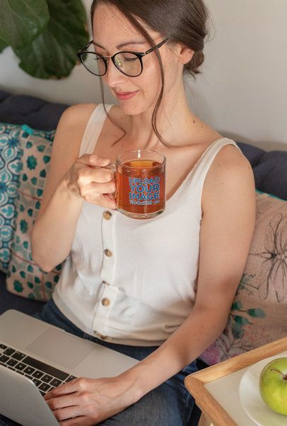 11 oz Glass Mug Mockup of a Woman Working From Home 31752