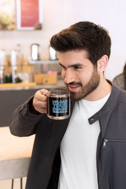 Mockup of a Bearded Man Drinking from an 11 oz Glass Mug 31779