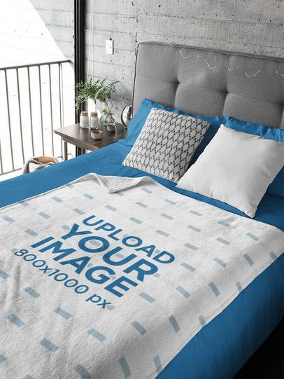 Mockup of a Blanket Placed Over a Bed 31314