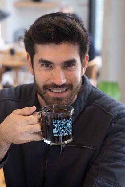Clear Glass Mug Mockup Featuring a Bearded Man Drinking Coffee 31781