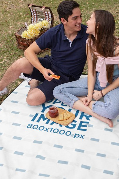 Blanket Mockup of a Couple on a Romantic Picnic 32291