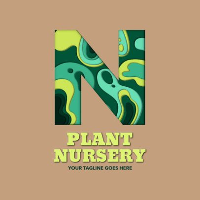 Logo Maker for a Plant Nursery with a Paper Cut Letter Graphic 2998i