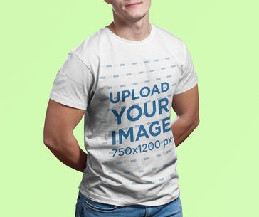 T-Shirt Mockup Featuring a Muscled Man in a Studio 2976-el1