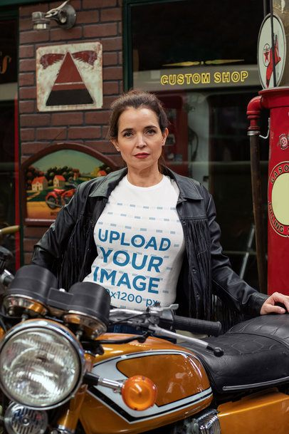 T-Shirt Mockup of a Fierce Woman Posing with Her Motorcycle 31849