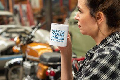 11 oz Coffee Mug Mockup of a Biker Woman 31794
