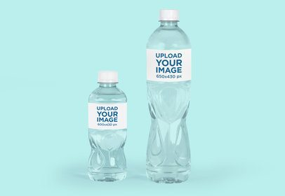 Mockup Featuring Two Water Bottles Placed Against a Solid Color Background 3080-el1