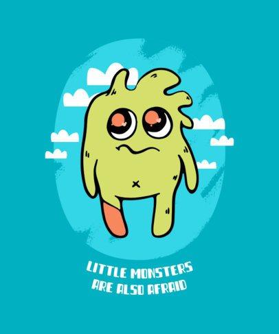 Kids T-Shirt Design Template Featuring Cartoonish Monsters 425-el1