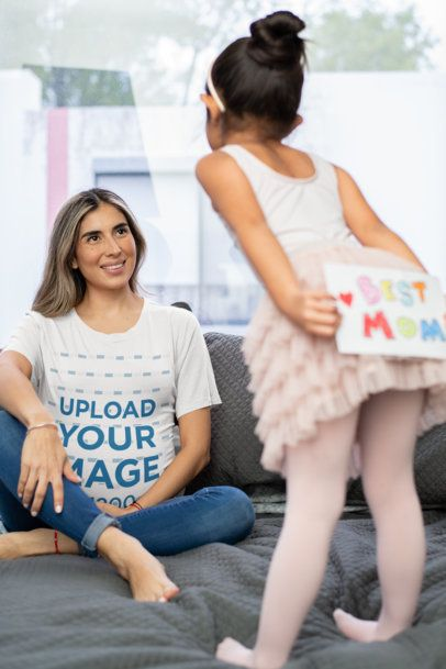 Mockup of a Woman with a T-Shirt Smiling at Her Daughter 32248