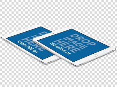 Mockup of Two iPad Minis in Landscape Position Floating  a11886
