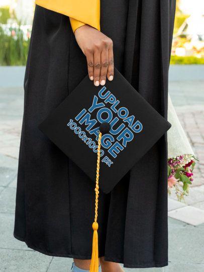 Mockup of a Woman Holding a Graduation Cap 32613