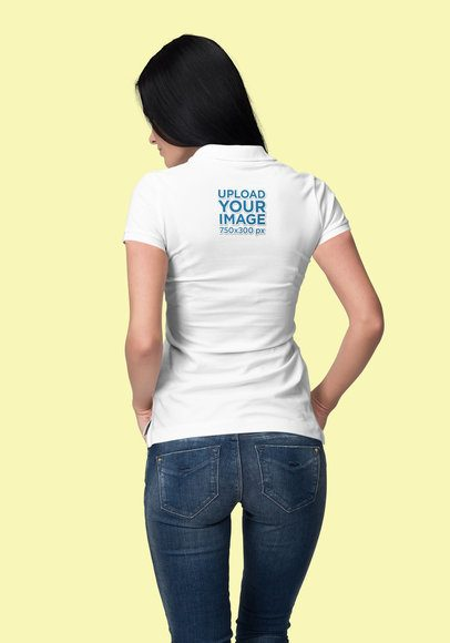 Back View Polo Mockup Featuring a Long-Haired Woman at a Studio 3193-el1