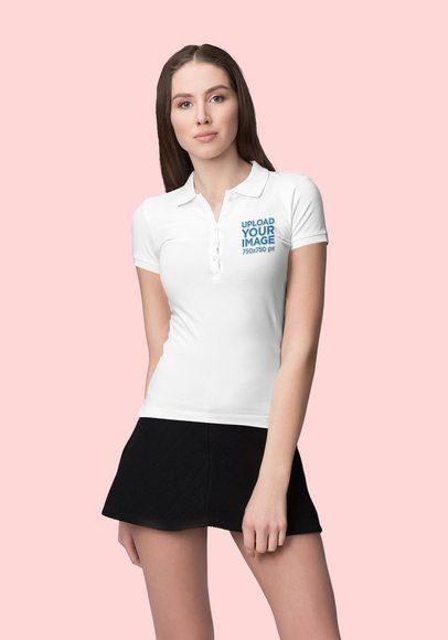 Mockup of a Young Woman Wearing a Polo Shirt at a Studio 3194-el1