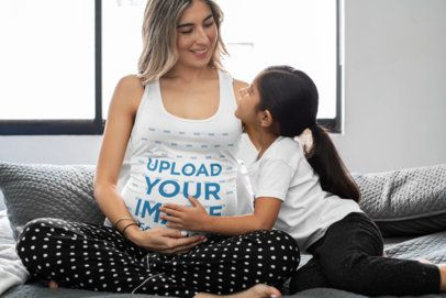 Tank Top Mockup of a Pregnant Woman and Her Daughter 32255