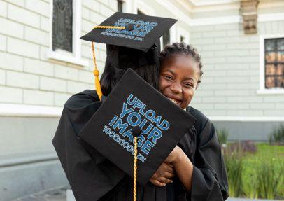 Graduation Cap Mockup of Two Friends Celebrating 32600