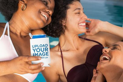 Koozie Mockup of Three Young Women at a Pool Party 32700
