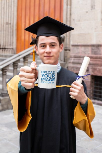 Mug Mockup of a Man in His Graduation Day 32622