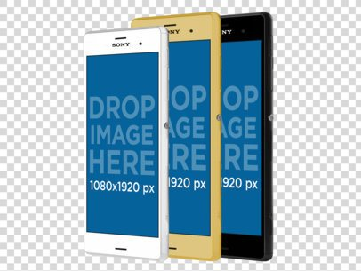 Sony Xperia Android Phones Lined Up in Angled Position PNG Mockup a11882
