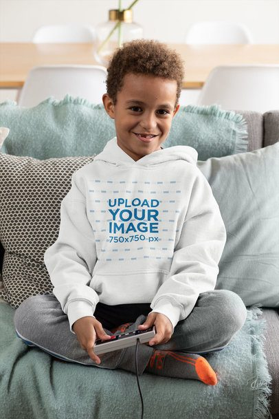 Hoodie Mockup Featuring a Boy Playing Videogames 31652