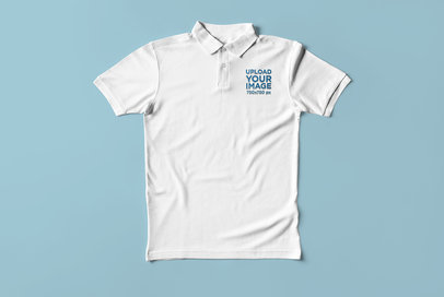 Mockup of a Polo Shirt Flat Laid Against a Solid Surface 3089-el1