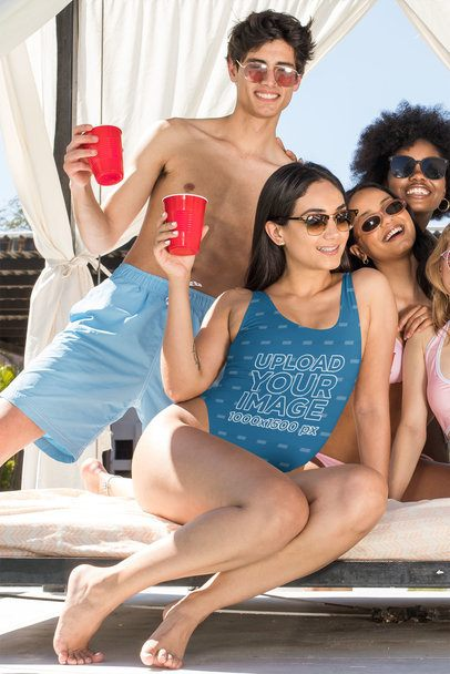 Swimsuit Mockup of a Woman at a Pool Party with Her Friends 32675