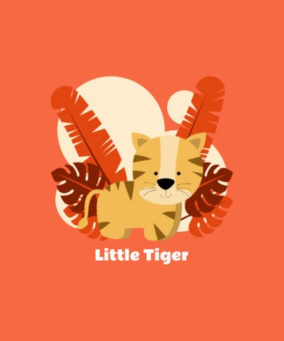 Animal T-Shirt Design Creator with an Adorable Baby Tiger Illustration 409c-el1