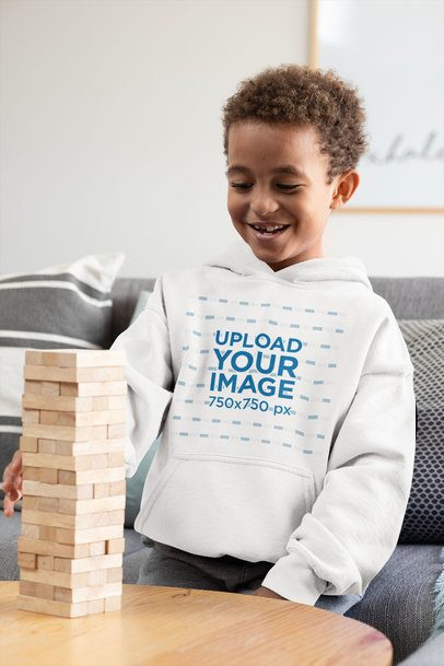 Pullover Hoodie Mockup Featuring a Smiling Boy Stacking Blocks 31651