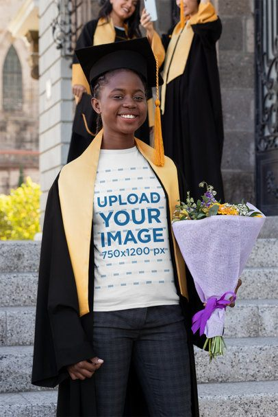 T-Shirt Mockup of a Smiling Young Woman on Graduation Day 32554