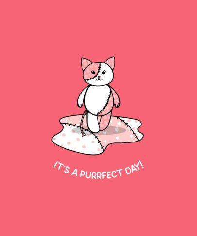Illustrations Girls T-Shirt Design Maker Featuring a Cute Stuffed Cat 414a-el1