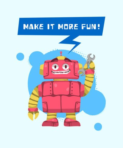 T-Shirt Design Generator for Kids with a Smiling Robot 428b-el1