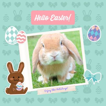 Instagram Post Generator Featuring a Cute Easter Bunny 2323g