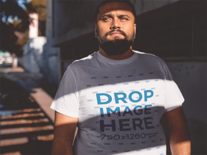 Round Neck Plus Size Tee Mockup of a Young Hispanic Man a12289