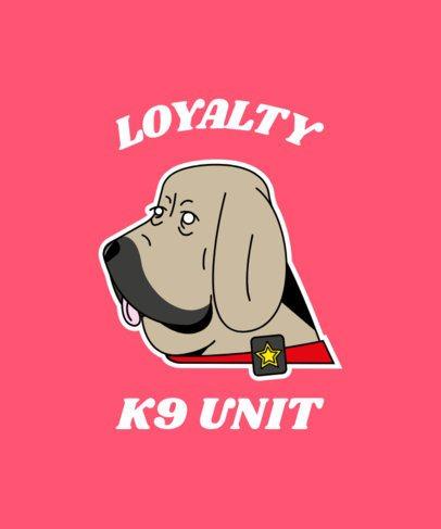 T-Shirt Design Template with a K9 Veteran Dog 2317e