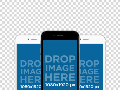 Three iPhones in Portrait Position Responsive Mockup a11925