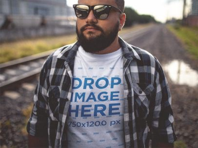 Plus Size T-Shirt Mockup of a Guy Wearing a Plaid Shirt and Sunglasses 12288