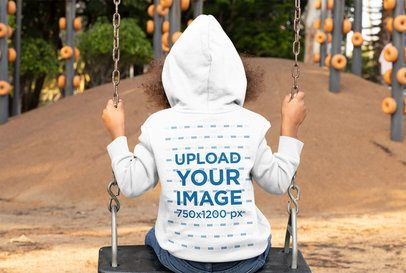 Back-View Hoodie Mockup Featuring a Girl on a Swing 32190
