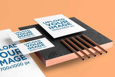 Stationery Mockup Featuring Copper Items and a Minimalistic Style 3184-el1