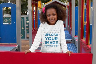 Long Sleeve Tee Mockup of a Little Girl at a Playground 32182