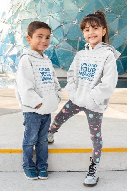 Pullover Hoodie Mockup Featuring Two Smiling Kids 31671